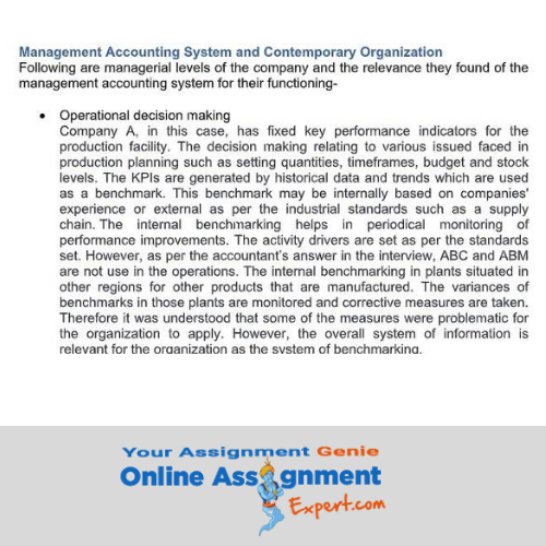 Accounting For Managers Assignment sample