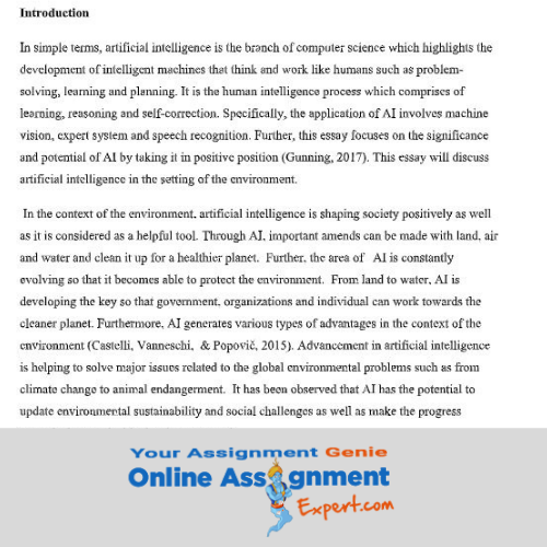artificial intelligence assignment solution