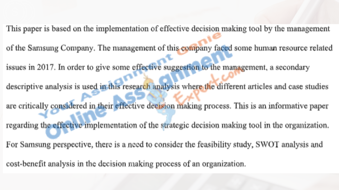 business decision making assignment executive summary
