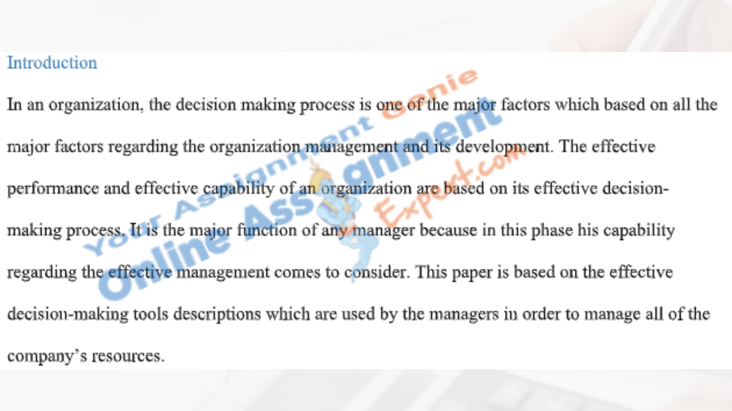 business decision making assignment introduction sample