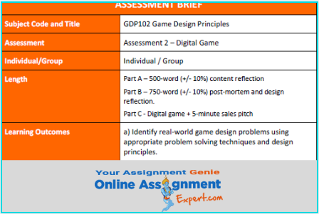 computer games design development assignment sample