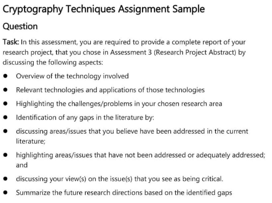 cryptography techniques assignment sample