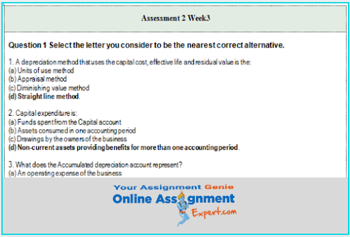 depreciation assignment answer