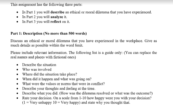 ethical dilemma assignment help