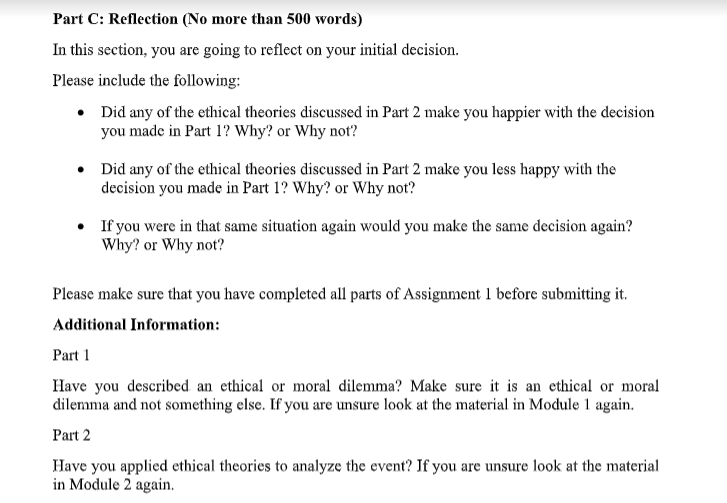 ethical dilemma assignment question