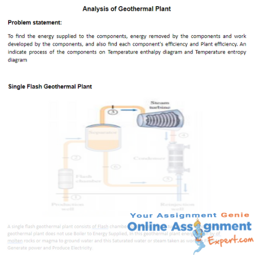 geothermal engineering assignment solution