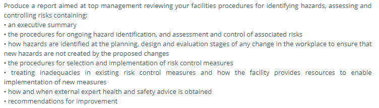 health and safety assessment question2