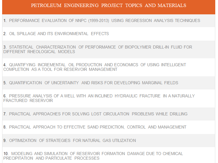 petroleum engineering project topics